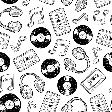Doodle style music media seamless. Includes vinyl records, music notes, headphones, and cassette tapes