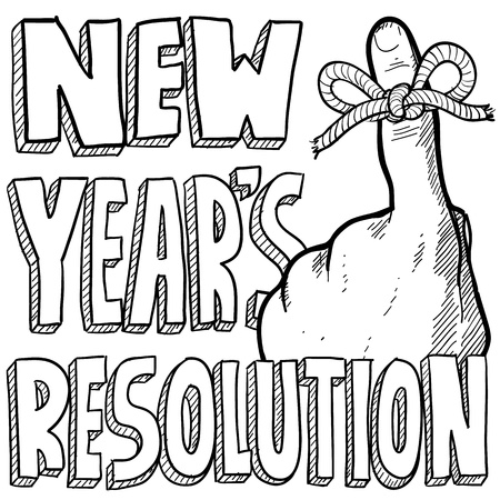 Doodle style New Year s Resolution reminder. Includes string tied around the finger with text