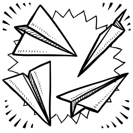 papierflugzeug: Doodle Stil Papierflieger Vielzahl