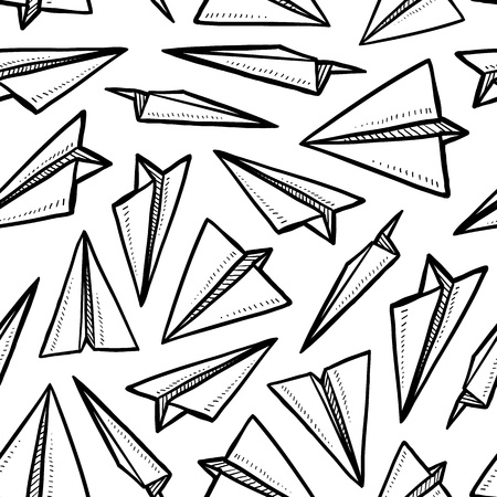 Doodle style seamless paper airplane background illustration in vector format
