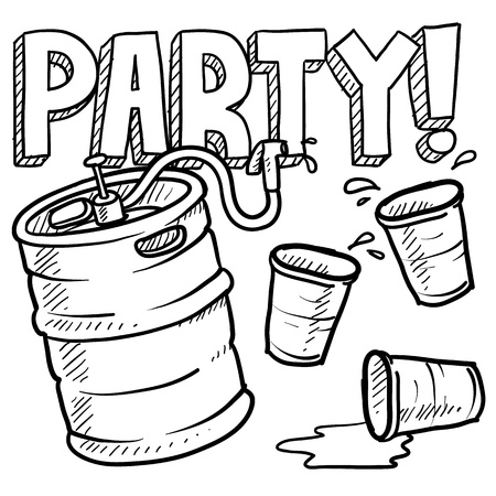 dorm: Doodle style beer keg, frat party, or kegger. Stock Photo