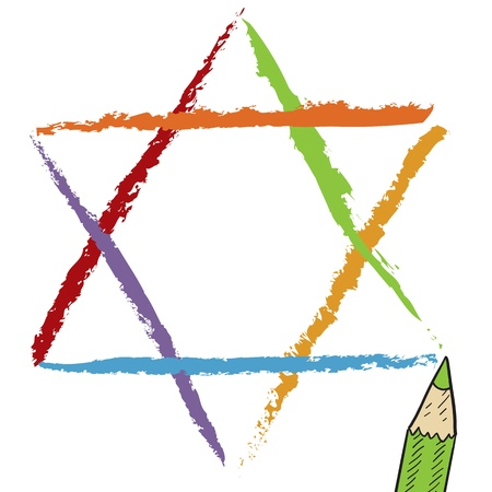 jews: Colorful Jewish Star of David sketch in vector format Stock Photo
