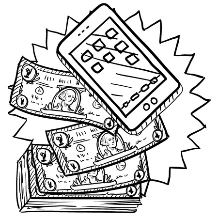 Doodle style cell phones or mobile devices are expensive illustration in vector format  Includes smartphone and pile of money  illustration