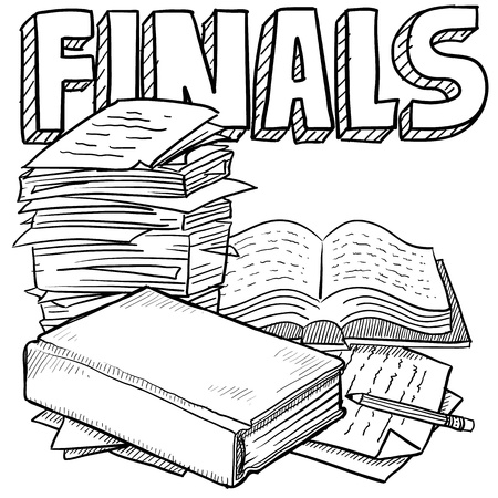 pile of papers: Doodle style final exams. Includes title text, pile of papers, and books