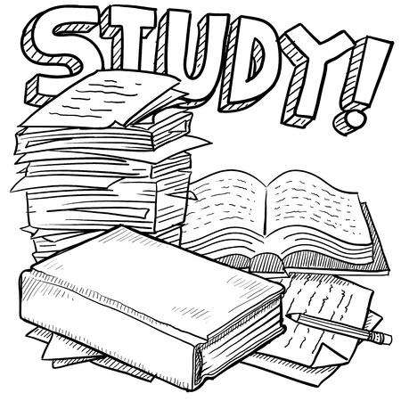 Doodle style school study. Includes title text, pile of papers, and books