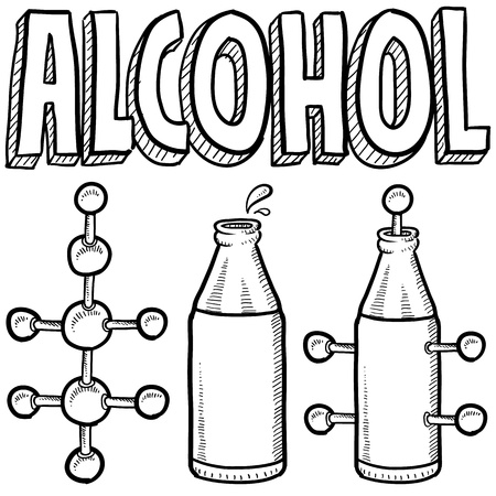 Doodle style alcohol molecule illustration in vector format  Includes text and molecular model
