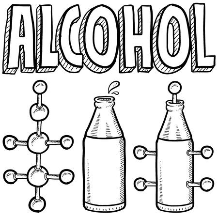 vector  molecular: Doodle style alcohol molecule illustration in vector format  Includes text and molecular model