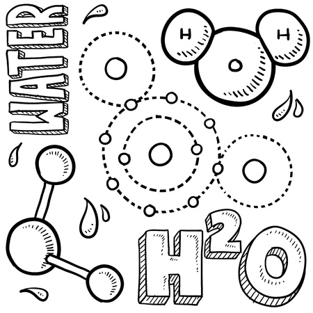 Doodle style water molecule illustration in vector format  Includes text and molecular model  Imagens