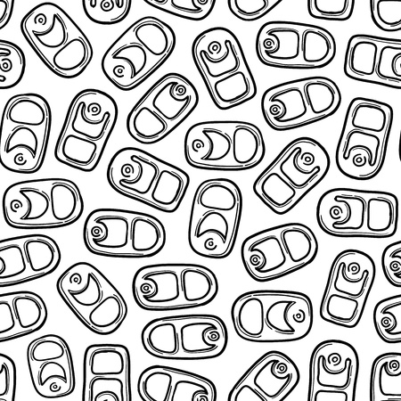 Doodle style aluminum, soda, or beer can pull tab seamless. Фото со стока