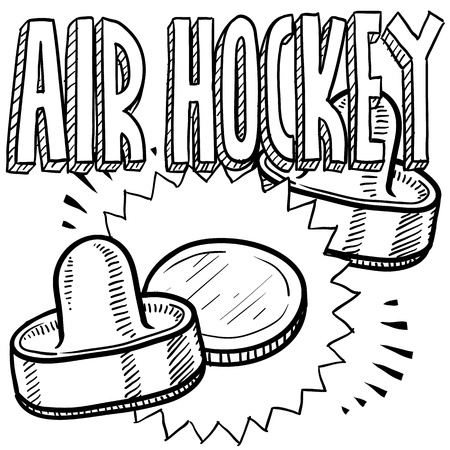 Doodle style air hockey sports illustration  Includes text, pucks, and paddles