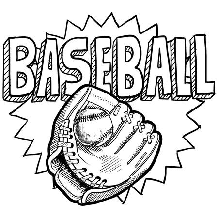 guante de beisbol: Doodle estilo deportivo de béisbol. Incluye pelota, guante o manopla, y el texto del título