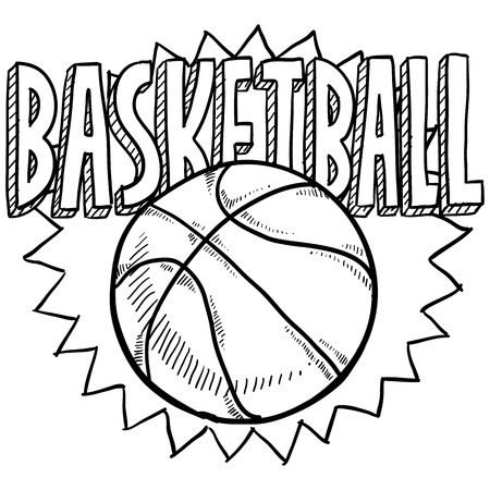 playoffs: Doodle style basketball sports. Includes ball and title text