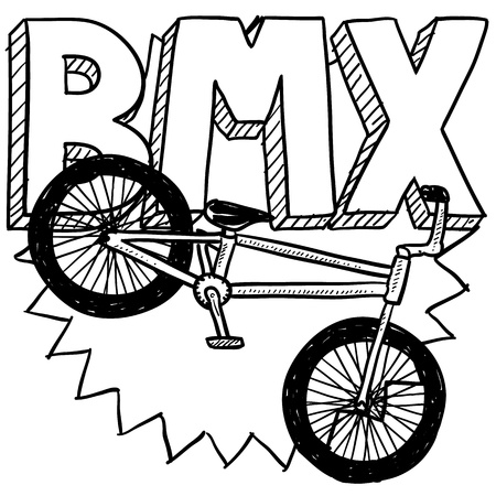 Doodle style BMX bike sports illustration  Includes text and bicycle  illustration