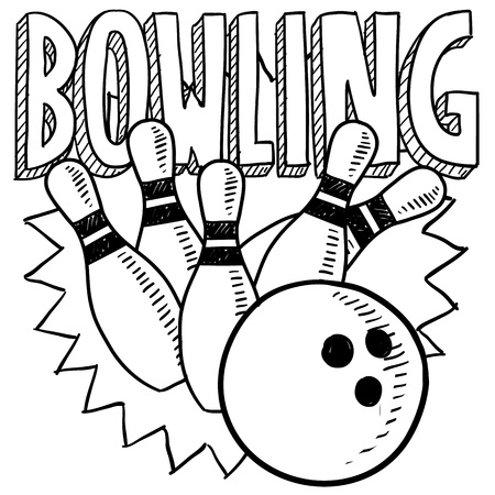 Doodle style bowling sports. Includes title text, bowling ball, and pins
