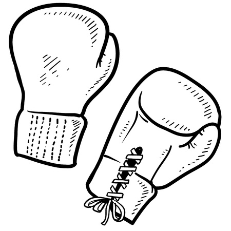 Doodle style boxing illustration in vector format  Includes text and boxing gloves