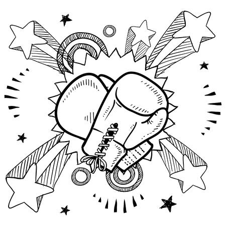 guantes de boxeo: Doodle estilo de ilustración de boxeo en formato vectorial Incluye guantes de boxeo y explosión pop de fondo
