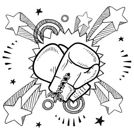bout: Doodle style illustration boxing in vector format  Includes boxing gloves and pop explosion background