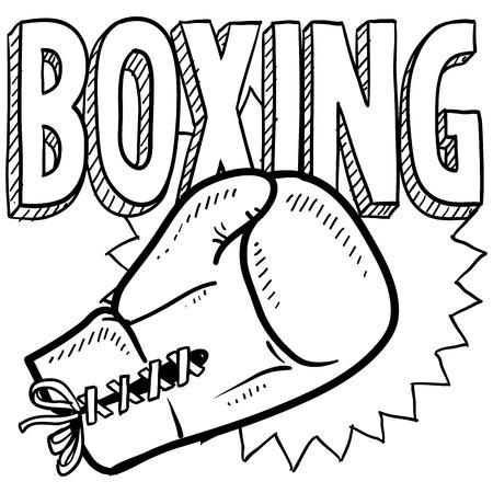 pugilist: Estilo Doodle ilustraci�n boxeo en formato vectorial Incluye texto y guantes de boxeo Foto de archivo