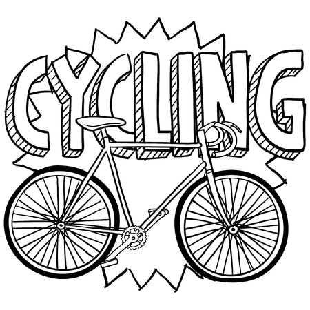 Doodle style cycling sports illustration  Includes text and bicycle