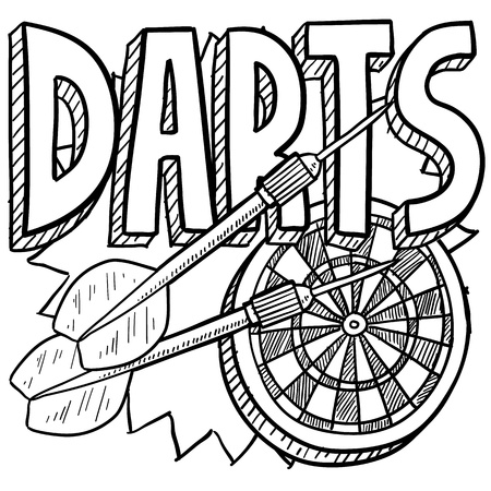 Doodle style darts sports illustration  Includes text, dartboard, and darts
