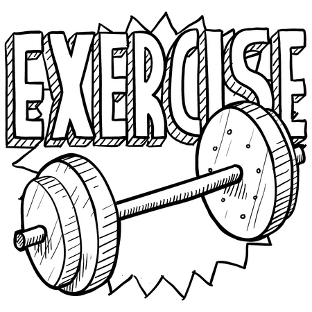 lifting weights: Doodle style gym workout or weight exercise sports illustration  Includes text and freeweights