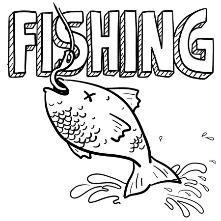sea bass: Doodle style fishing sports illustration  Includes text and fish caught on a hook
