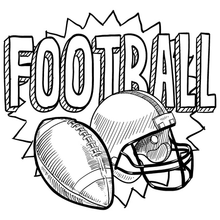 sports equipment: Doodle style American football. Includes text, helmet and ball