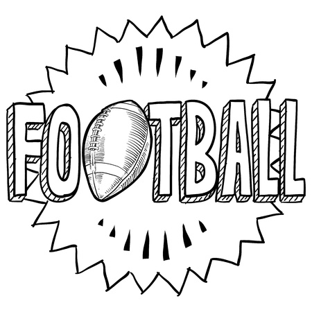 concussion: Doodle style American football illustration in vector format  Includes text and ball  Stock Photo
