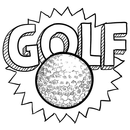 Doodle style golf illustration in vector format  Includes text and golf ball  illustration