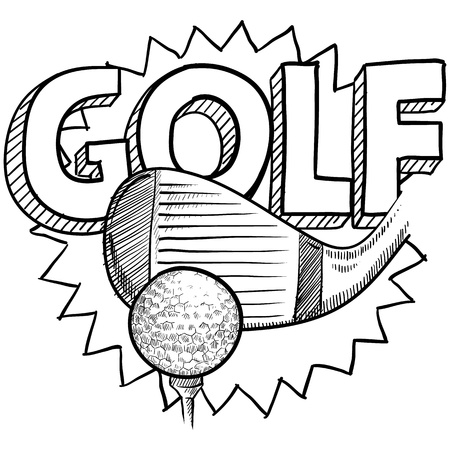 Doodle style golf illustration in vector format  Includes text, club, and golf ball  illustration