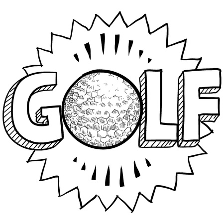 individual sports: Doodle style golf illustration in vector format  Includes text and golf ball