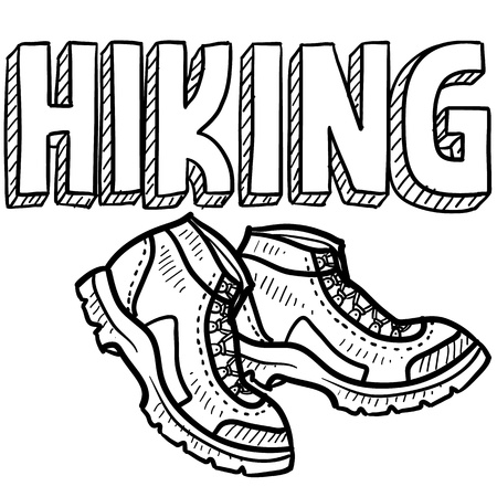 hiking boot: Doodle style hiking outdoor sports illustration  Includes text and hiking boots