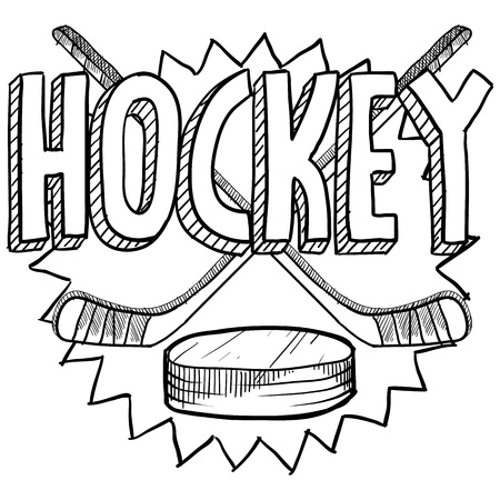 Doodle style hockey illustration in vector format  Includes text, hockey sticks, and puck