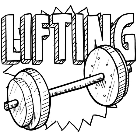 Doodle style weightlifting sports illustration  Includes text and barbells  Stock Illustration - 18476338