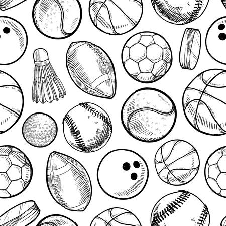 balon baloncesto: Deportes estilo Doodle equipo sin fisuras Foto de archivo