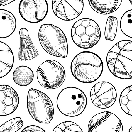 sport balls: Doodle style sports equipment seamless