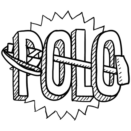wealthy lifestyle: Doodle style polo sports illustration  Includes text and mallets