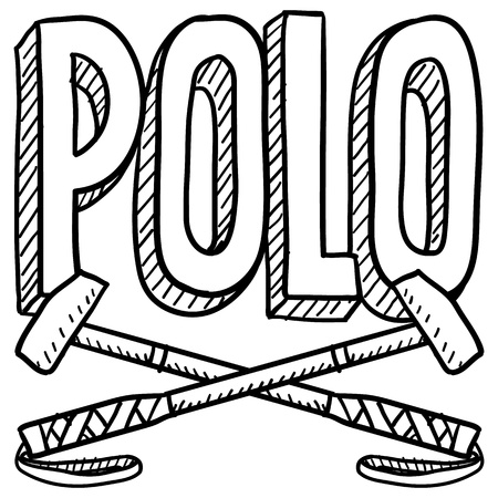 Doodle style polo sports illustration  Includes text and mallets