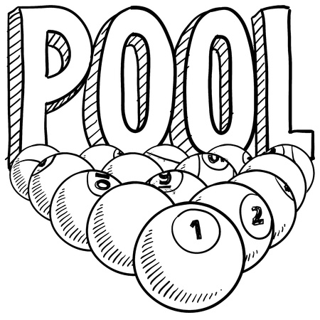 billiards tables: Doodle style pool or billiards illustration in vector format  Includes text and pool balls