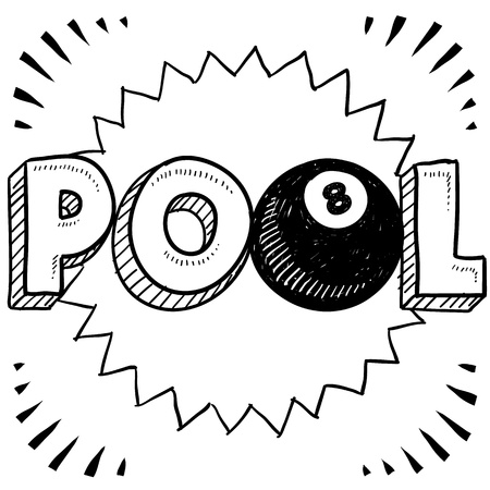 pool table: Doodle style pool or billiards illustration in vector format  Includes text and eight ball