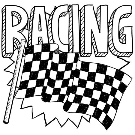 Doodle style car racing sports illustration  Includes text and checkered flag