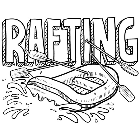 Doodle style whitewater rafting illustration in vector format  Includes text and raft  illustration