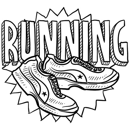 Doodle style running sports illustration  Includes text and running shoes  Stok Fotoğraf