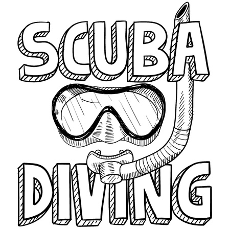 swimming goggles: Doodle style scuba diving illustration in vector format  Includes text, diving mask, and snorkel