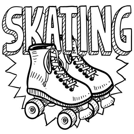 patín: Rodillo de patinaje estilo Doodle ilustración en formato vectorial Incluye texto y patines Foto de archivo