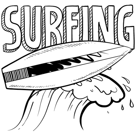 vintage wave: Doodle style surfing illustration in vector format  Includes text, surfboard, and wave crest