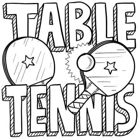 tenis: Doodle style table tennis or ping pong sports illustration  Includes text, paddles, and balls