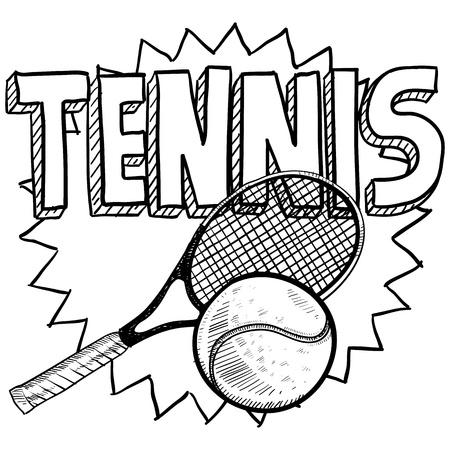 racquetball: Ilustraci�n del Doodle de tenis estilo en formato vectorial incluye texto, raqueta y la bola