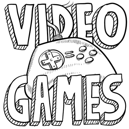 Doodle style video games sports illustration  Includes text and computer game controller  illustration