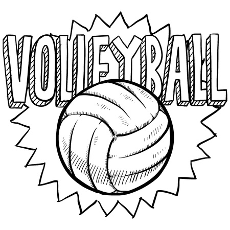 Doodle style volleyball illustration in vector format  Includes text and ball